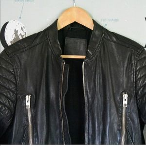 43b663b59 AllSaints Sanderson Leather Moto Bomber Jacket